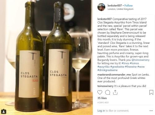 Lenka Sedlackova Instagram T-Oinos Clos Stegasta - Wimbledon Wine Cellar