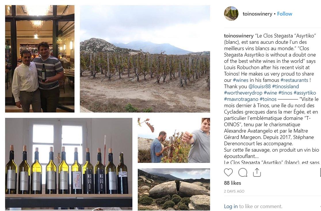 Louis Robuchon Visit to T-Oinos Instagram - Wimbledon Wine Cellar